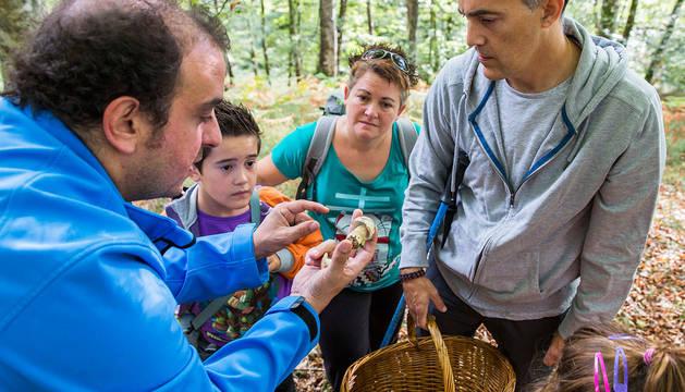 Un grupo de personas atiende una explicación sobre un ejemplar recolectado en Ultzama.
