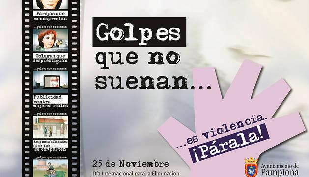 Cartel de la campaña del Ayuntamiento de Pamplona para conmemorar el Día Internacional para la Eliminación de la Violencia contra las Mujeres