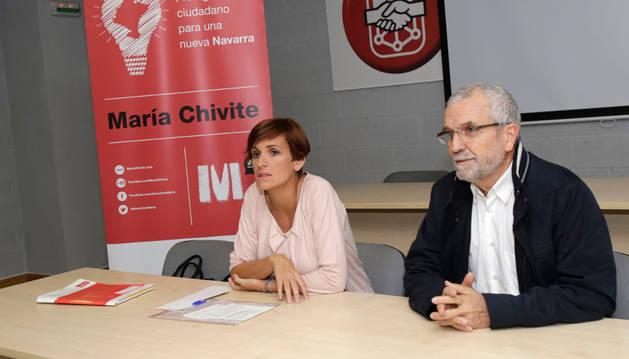 Campillo, junto a María Chivite, en una charla de la segunda cuando era candidata a las primarias