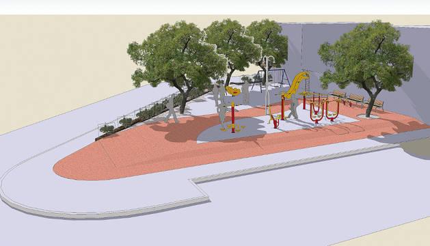 Imagen del nuevo espacio de ocio, en la intersección de la calle Gayarre y el camino a Santa Cruz.