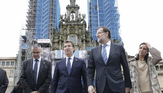 Rajoy, con Núñez Feijóo, en Santiago.