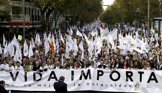 Cabeza de la manifestación celebrada este sábado en Madrid, convocada por medio centenar de asociaciones provida