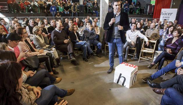 Pedro Sánchez, durante su participación en un acto abierto al público celebrado hoy en Burgos