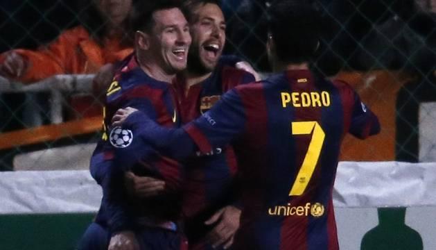 Messi celebra su gol número 72 en la Liga de Campeones