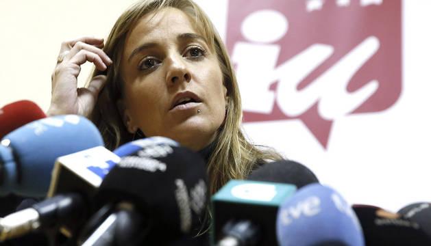 La parlamentaria de IU en la Asamblea de Madrid Tania Sánchez, durante la rueda de prensa que ofreció este miércoles