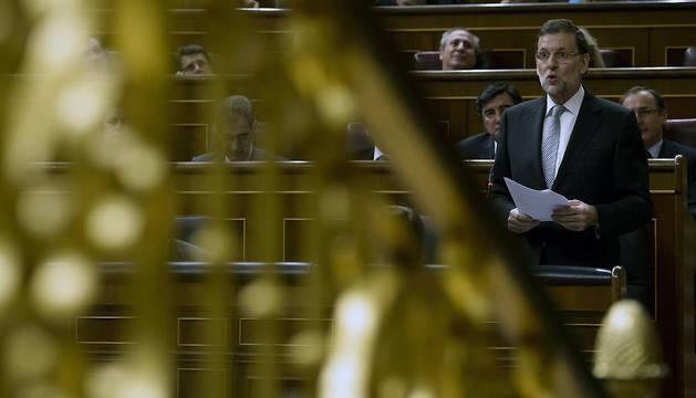 El presidente del Gobierno, Mariano Rajoy, durante el pleno del Congreso de los Diputados