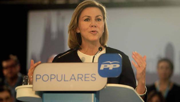 La secretaria general del PP, María Dolores de Cospedal, en Cataluña
