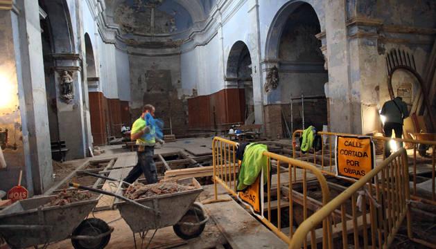 Imagen de los trabajos que se están realizando en la antigua iglesia de San Nicolás.