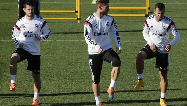 Isco, Ramos y Jesé, en Valdebebas