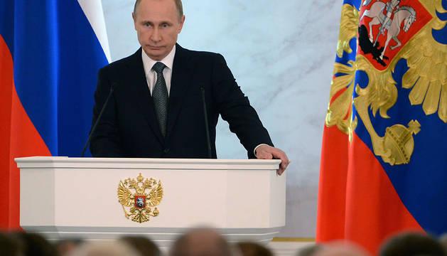 El presidente ruso, durante su intervención este jueves
