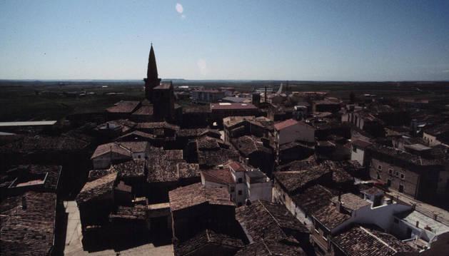 Vista del centro de Olite desde la torre del castillo