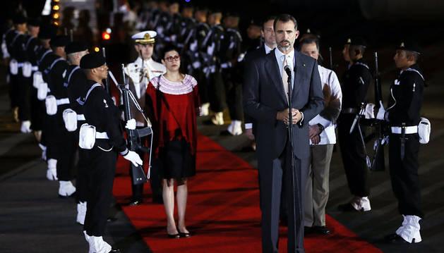 El rey Felipe VI, a su llegada a Veracruz