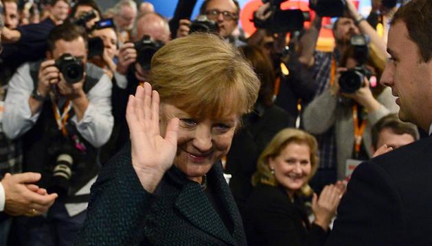 Angela Merkel, en el congreso de su partido