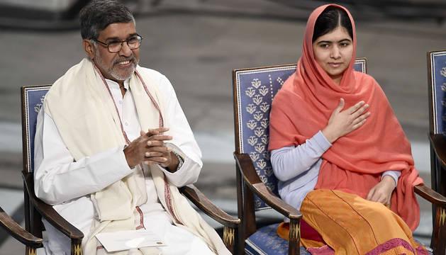 Kailash Satyarthi y Malala Yousafzai, en Oslo.