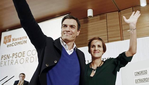 Sánchez y Chivite, este sábado, en Pamplona