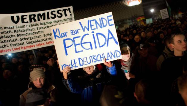 Manifestantes del movimiento 'Pegida'