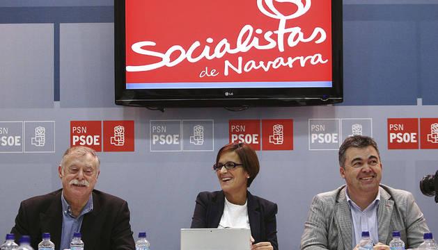 Un momento de la primera reunión de la nueva comisión del PSN-PSOE, presidida por la nueva presidenta, María Chivite