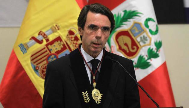 José María Aznar pronuncia un discurso tras recibir la Distinción y Medalla a los Valores Democráticos en Lima.