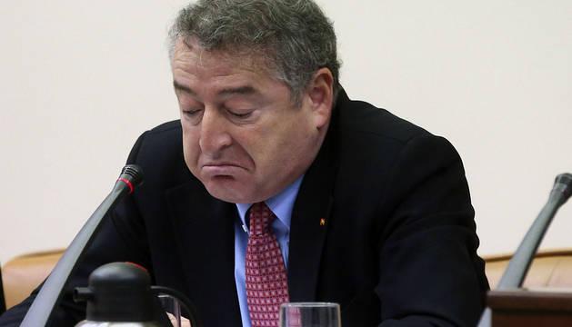 El presidente de RTVE, José Antonio Sánchez, durante su comparecencia en el Congreso