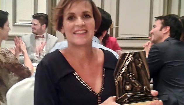 María Chivite, con su galardón.