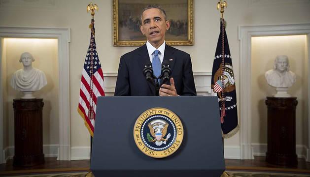 Obama pronuncia su discurso en la Casa Blanca.