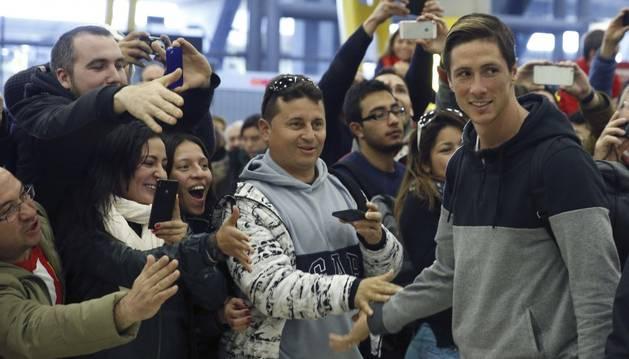 Fernando Torres, en su llegada a Barajas