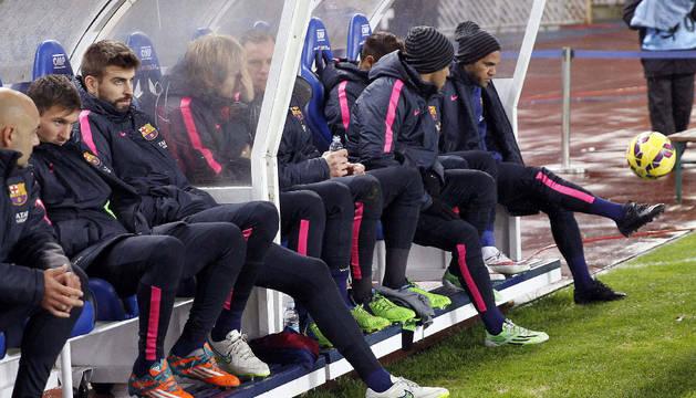 Messi, en el banquillo de Anoeta, este domingo