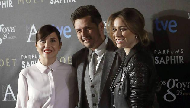 Las actrices Marián Álvarez (i) y Blanca Suárez y el director Kike Maíllo han sido los encargados de desvelar los nombres de los finalistas de la 29 edición de los premios Goya