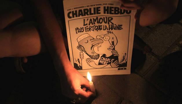 Manifestación en memoria de las víctimas de Charlie Hebdo