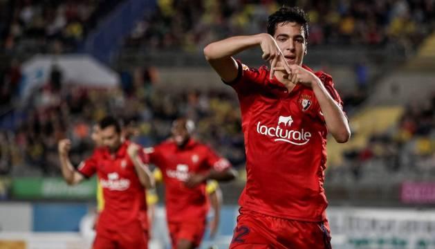 Mikel Merino celebra su gol en Las Palmas