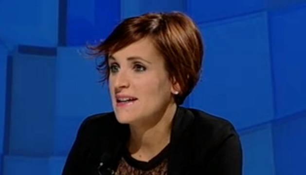 María Chivite, durante la entrevista.