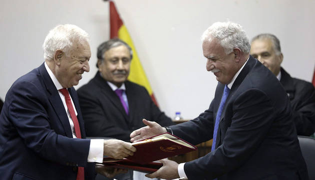 García-Margallo y su homólogo palestino, Riyad al-Maliki.