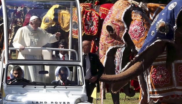El papa Francisco observa a varios elefantes en Colombo.