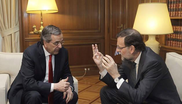 Rajoy, durante su reunión con Samarás.