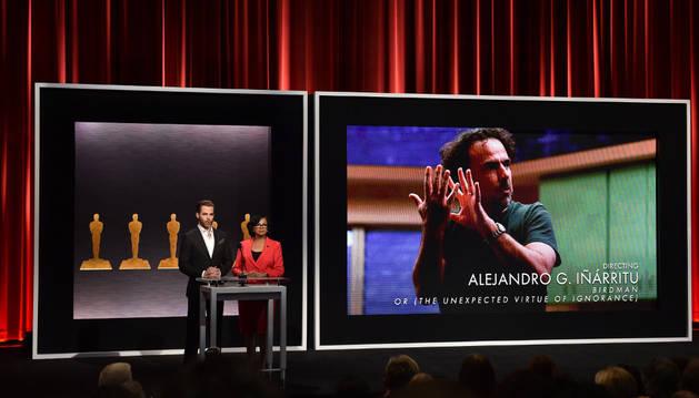 Momento en el que se anuncia a González Iñárritu nominado para los Oscar