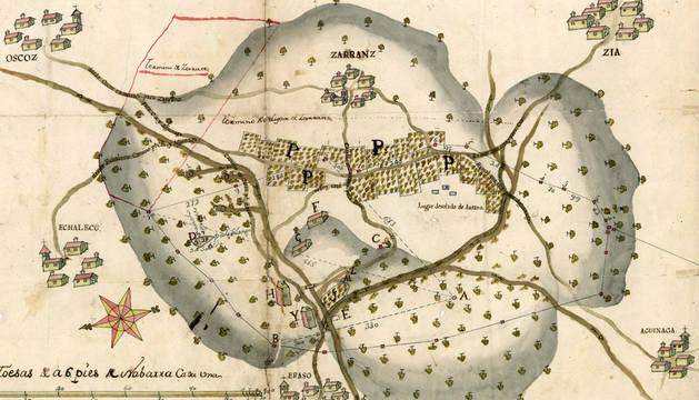 Plano de Zarrantz y otras localidades del valle de Imotz