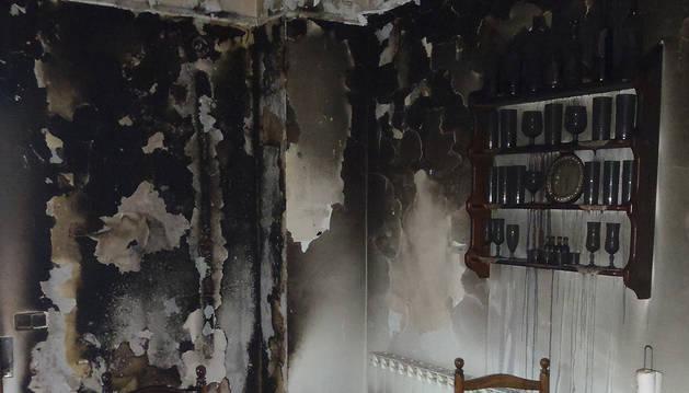 Estado en el que quedó la vivienda tras el incendio
