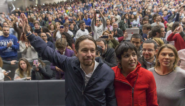 Pablo Iglesias, a su llegada al mitin celebrado en el palacio de Congresos de Sevilla.