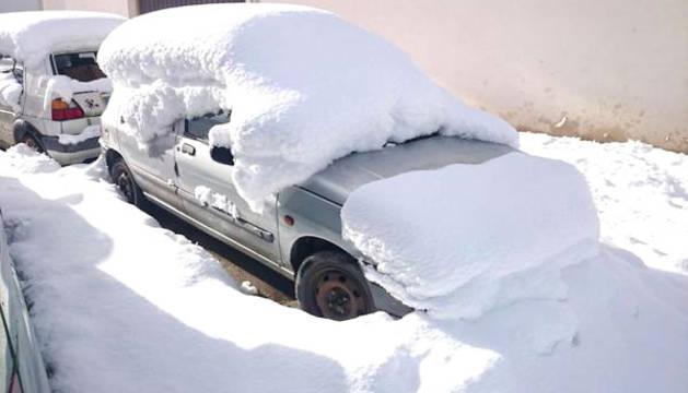 Imagen de la nevada registrada este lunes en Espinal.