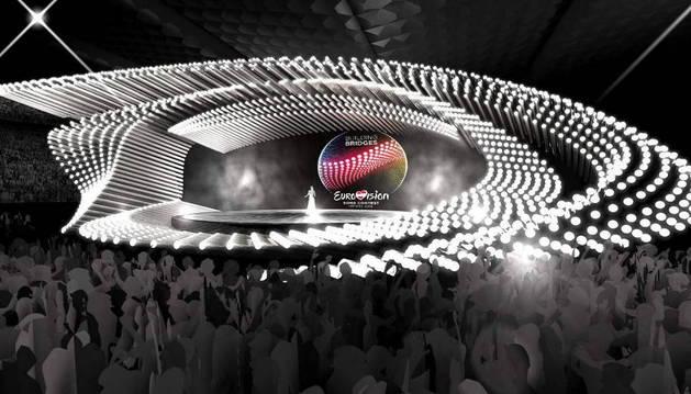 Imagen facilitada por la organización de Eurovisión 2015 del escenario de la final del certamen musical