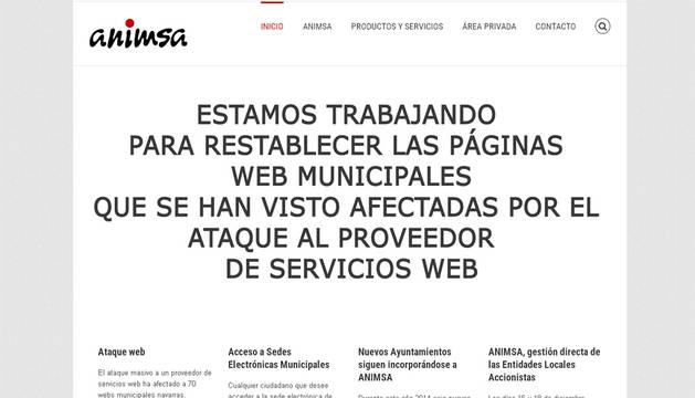 Imagen del aviso que ha publicado Anima en su página web.