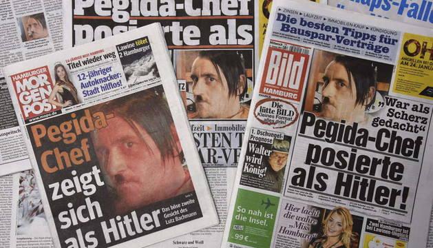 Los principales diarios se hacen eco del líder de Pegida disfrazado de Hitler