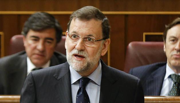 El presidente del Gobierno, Mariano Rajoy, durante una de sus intervenciones en la sesión de control al Ejecutivo
