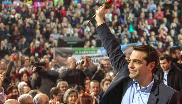 El líder de Syriza, Alexis Tsipras, en un mitin esta semana.