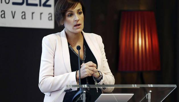 María Chivite, durante su intervención en el 'Foro Ser Navarra'