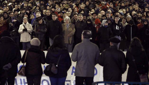 Un momento de la manifestación celebrada este viernes en Pamplona
