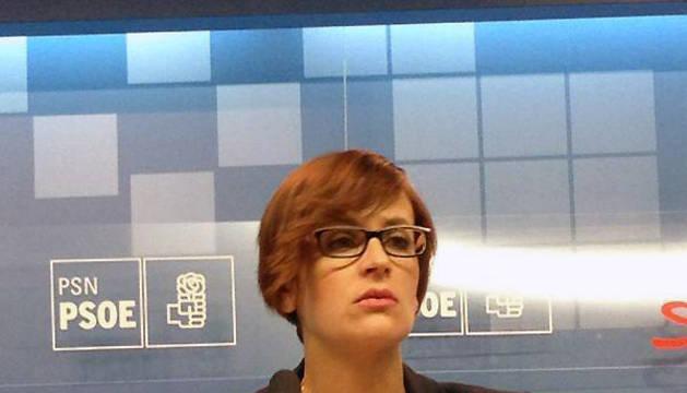 La secretaria general del PSN, María Chivite, durante su intervención en la apertura del Comité Regional Ordinario del partido