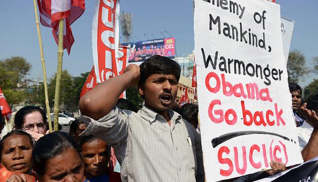 Protestas en Hyderabad contra la visita de Obama