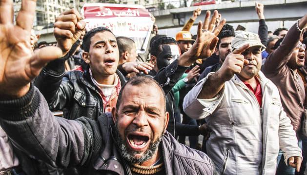 Una de las manifestaciones por el aniversario de la revolución de Egipto