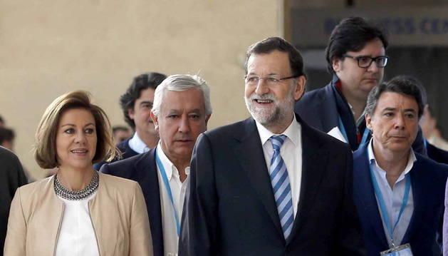 Rajoy y otros dirigentes populares, a su llegada a la clausura de la convención